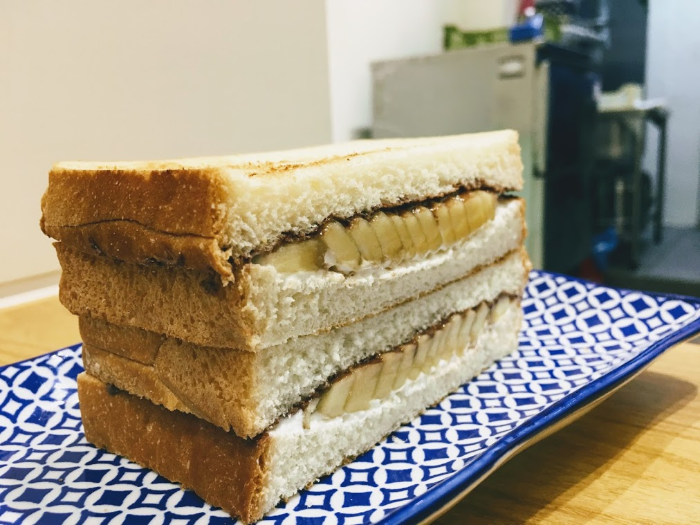 the chocolate and banana sandwich in the shanwich